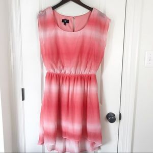 Iz Byer Pink and White Ombré High Low Dress